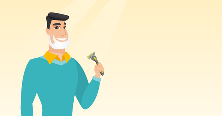 shaver: Caucasian man with shaving cream on face and razor in hand. Man shaving face. Young man prepping face for daily shaving. Concept of daily hygiene. Vector flat design illustration. Horizontal layout. Illustration