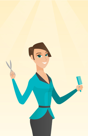 comb: Hairdresser holding comb and scissors in hands. Illustration