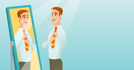 Hombre de negocios que se mira en el espejo.