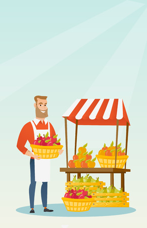 Street seller with fruits and vegetables. Illustration