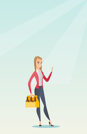 Young happy woman holding pack of beer. Full length of cheerful woman carrying a six pack of beer. Caucasian smiling woman buying beer. Vector flat design illustration. Vertical layout. Illustration