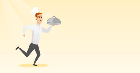 Running chef cook vector illustration. Ilustrace