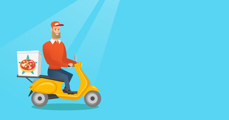 Young man delivering pizza on scooter. Courier driving a motorbike and delivering pizza. Worker of delivery service of pizza. Food delivery concept. Vector flat design illustration. Horizontal layout.