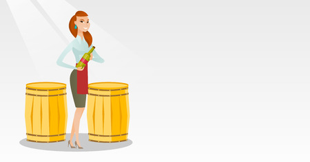 Caucasian waitress holding a bottle of wine. Waitress with a bottle standing on the background of wine barrels. Waitress presenting a wine bottle. Vector flat design illustration. Horizontal layout. Illustration