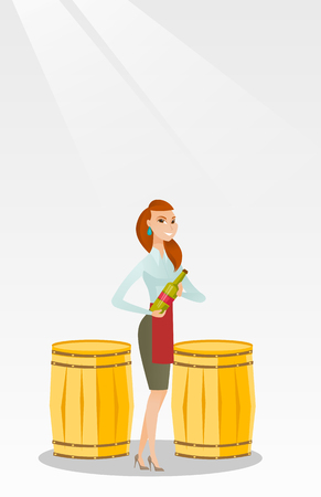 Caucasian waitress holding a bottle of wine. Waitress with a bottle standing on the background of wine barrels. Waitress presenting a wine bottle. Vector flat design illustration. Vertical layout.