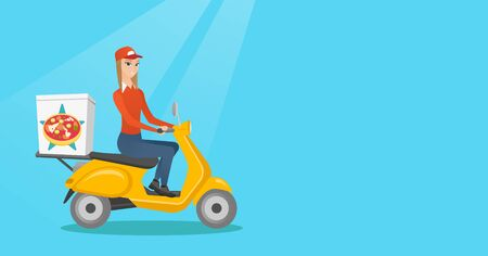 Woman delivering pizza on scooter. Courier driving a motorbike and delivering pizza. Worker of delivery service of pizza. Concept of food delivery. Vector flat design illustration. Horizontal layout. Ilustrace