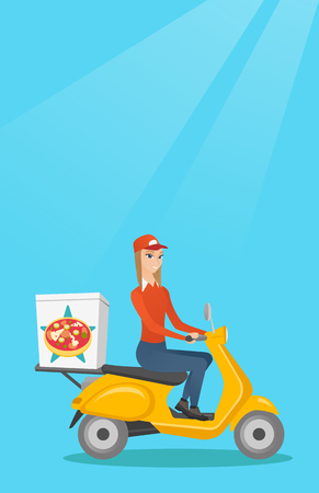 Woman delivering pizza on scooter. Courier driving a motorbike and delivering pizza. Worker of delivery service of pizza. Concept of food delivery. Vector flat design illustration. Vertical layout. Illustration