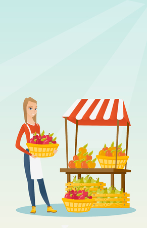 greengrocer standing near the stall with fruits and vegetables. Greengrocer standing near the market stall. Greengrocer holding basket with fruits. Vector flat design illustration. Vertical layout. Illustration