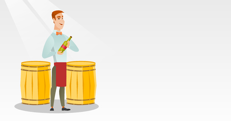 Caucasian waiter holding a bottle of wine. Young waiter with a bottle standing on the background of wine barrels. Waiter presenting a wine bottle. Vector flat design illustration. Horizontal layout. Illustration