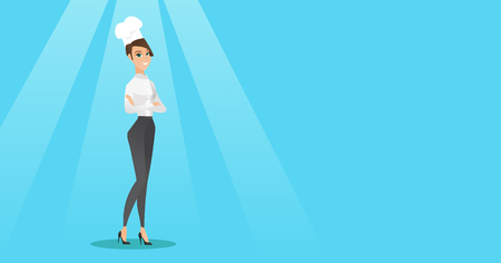 Caucasian cheerful chief cook in uniform and hat standing with arms crossed. Young caucasian chef cook. Full length of confident female chief cook. Vector flat design illustration. Horizontal layout. Illustration