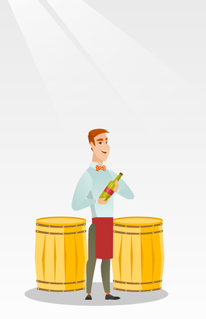 Caucasian waiter holding a bottle of wine. Young waiter with a bottle standing on the background of wine barrels. Waiter presenting a wine bottle. Vector flat design illustration. Vertical layout. Illustration
