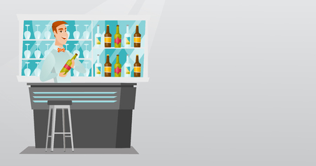 Young caucasian bartender standing at the bar counter with a bottle of alcoholic drink. Bartender holding a bottle of alcoholic drink in hands. Vector flat design illustration. Horizontal layout. Ilustrace