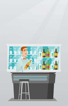 Caucasian bartender standing at the bar counter with a bottle of alcoholic drink. Cheerful bartender holding a bottle of alcoholic drink in hands. Vector flat design illustration. Vertical layout.