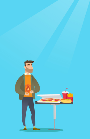 Caucasian sad man having a stomach ache from heartburn. Young hipster man suffering from a heartburn. Upset man having a stomach ache after fast food. Vector flat design illustration. Vertical layout. Illustration
