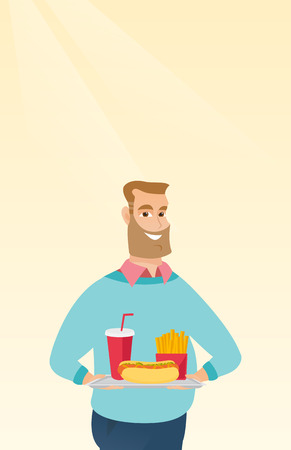 Caucasian man holding a tray with fast food. Young man having lunch in a fast food restaurant. Happy man with fast food. Unhealthy nutrition concept. Vector flat design illustration. Vertical layout.