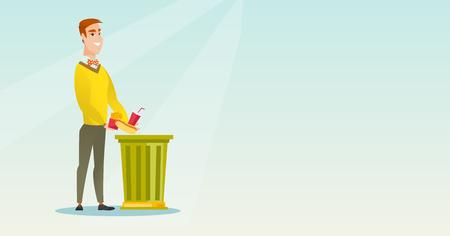 Caucasian man putting junk food into a trash bin. Man refusing to eat junk food. Man rejecting junk food. Man throwing away junk food. Diet concept. Vector flat design illustration. Horizontal layout. Illustration