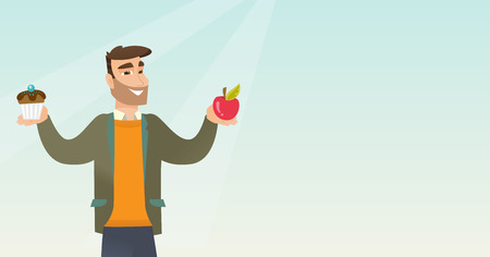 Man holding an apple and a cupcake in hands. Man choosing between an apple and a cupcake. Concept of choice between healthy and unhealthy nutrition. Vector flat design illustration. Horizontal layout.