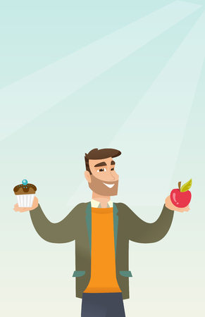 Man holding an apple and a cupcake in hands. Man choosing between an apple and a cupcake. Concept of choice between healthy and unhealthy nutrition. Vector flat design illustration. Vertical layout.