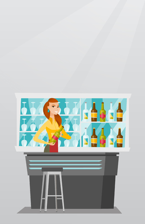Jeune barman caucasien debout au comptoir de bar avec une bouteille de boisson alcoolisée . barman souriant tenant une bouteille de boissons alcoolisées dans la chambre. illustration vectorielle design plat . vertical disposition Banque d'images - 79194751