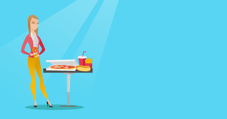 Caucasian sad woman having a stomach ache from heartburn. Young woman suffering from a heartburn. Upset woman having a stomach ache after fast food. Vector flat design illustration. Horizontal layout.