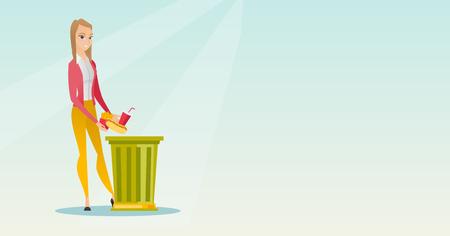 Caucasian woman putting junk food into a trash bin. Woman refusing to eat junk food. Young woman rejecting junk food. Woman throwing away junk food. Vector flat design illustration. Horizontal layout.