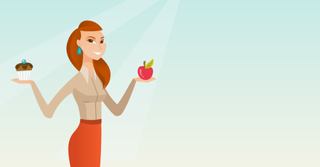 Young woman holding an apple and a cupcake. Woman choosing between an apple and a cupcake. Concept of choice between healthy and unhealthy nutrition. Vector flat design illustration. Horizontal layout