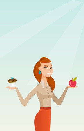 Young woman holding an apple and a cupcake. Woman choosing between an apple and a cupcake. Concept of choice between healthy and unhealthy nutrition. Vector flat design illustration. Vertical layout. Иллюстрация