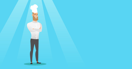 Confident male chief cook with arms crossed.