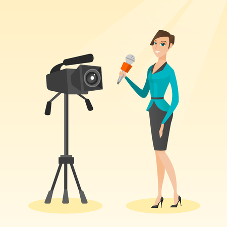 TV reporter with a microphone and a camera.