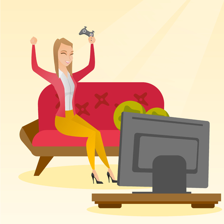 Woman playing a video game vector illustration.
