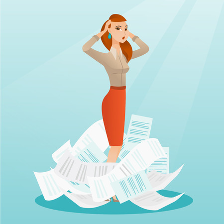 job deadline: Stressed business woman having lots of work to do.