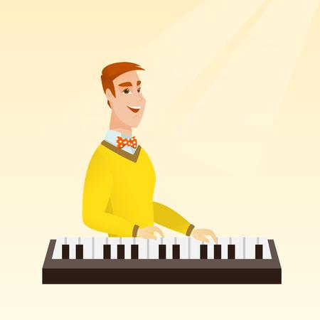 Man playing the piano vector illustration. Illustration