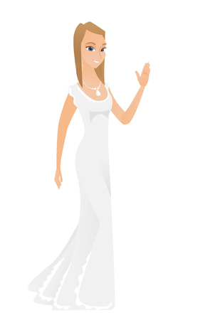 Young caucasian bride waving her hand.