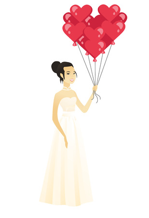 Bride with bunch of heart-shaped red balloons. Illustration