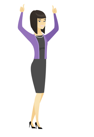 Business woman standing with raised arms up. Illustration