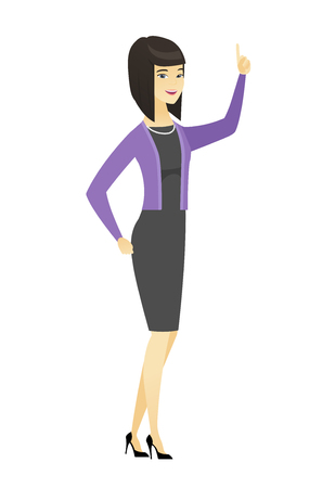 Business woman pointing with her forefinger.