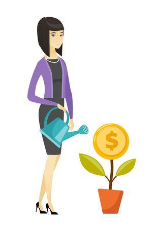 Woman watering money flower vector illustration.
