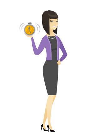 Asian business woman holding alarm clock. Illustration
