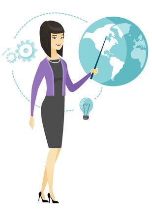flat earth: Asian business woman pointing at a globe. Illustration