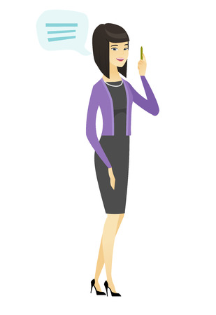 Young asian business woman with speech bubble.