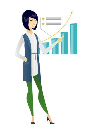 Asian successful business woman pointing at chart going up. Business woman satisfied by her business success. Business success concept. Vector flat design illustration isolated on white background. Illustration