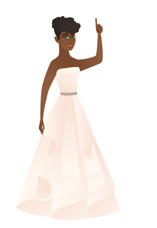 came: African fiancee with open mouth pointing finger up. Full length of fiancee in white dress with open mouth came up with successful idea. Vector flat design illustration isolated on white background.