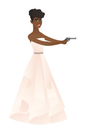 Bride in a white wedding dress holding a handgun.
