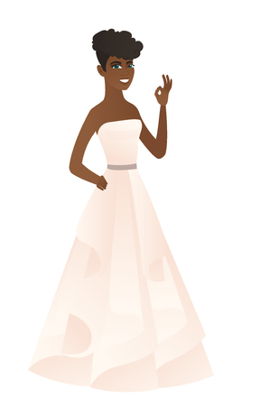 African-american fiancee in white dress showing an ok sign. Young happy fiancee making an ok sign. Successful fiancee gesturing ok sign. Vector flat design illustration isolated on white background.