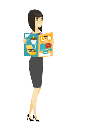 Successful asian business woman reading a magazine. Young business woman holding a magazine.Full length of business woman with magazine. Vector flat design illustration isolated on white background. Illustration