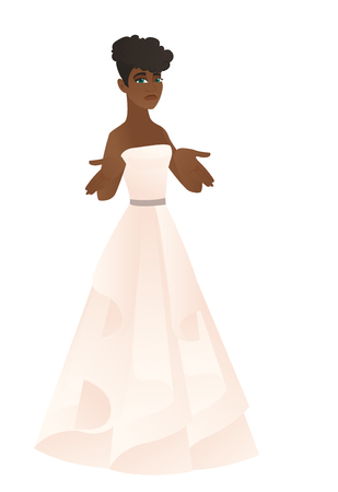 Confused african fiancee shrugging shoulders. Full length of doubtful fiancee in white dress gesturing hands and shrugging shoulders. Vector flat design illustration isolated on white background.