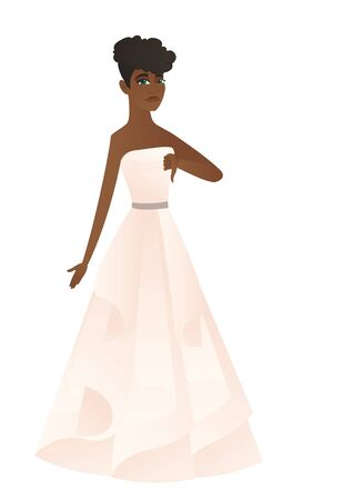 Disappointed african fiancee with thumb down. Full length of young fiancee in white dress showing thumb down. Fiancee with thumb down. Vector flat design illustration isolated on white background.