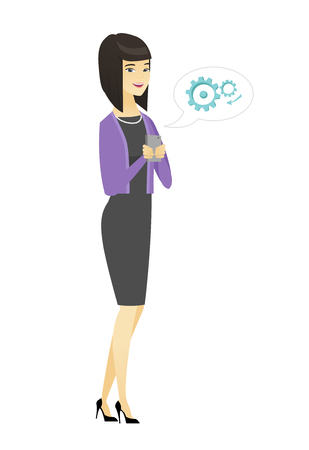 Happy business woman holding mobile phone in hands. Full length of business woman with mobile phone. Business woman using mobile phone. Vector flat design illustration isolated on white background. Illustration