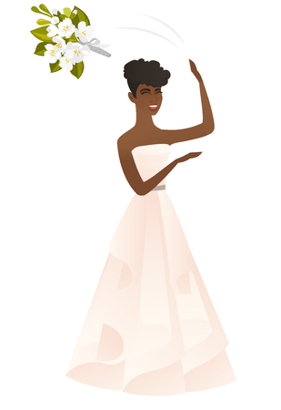 Young african bride tossing a bouquet of flowers. Full length of happy bride in a long white throwing a bouquet of flowers at the wedding. Vector flat design illustration isolated on white background.