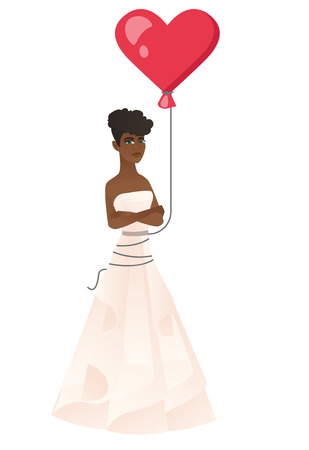 African serious bride with a heart-shaped red balloon. Full length of serious bride in a white wedding dress standing with folded arms. Vector flat design illustration isolated on white background Illustration